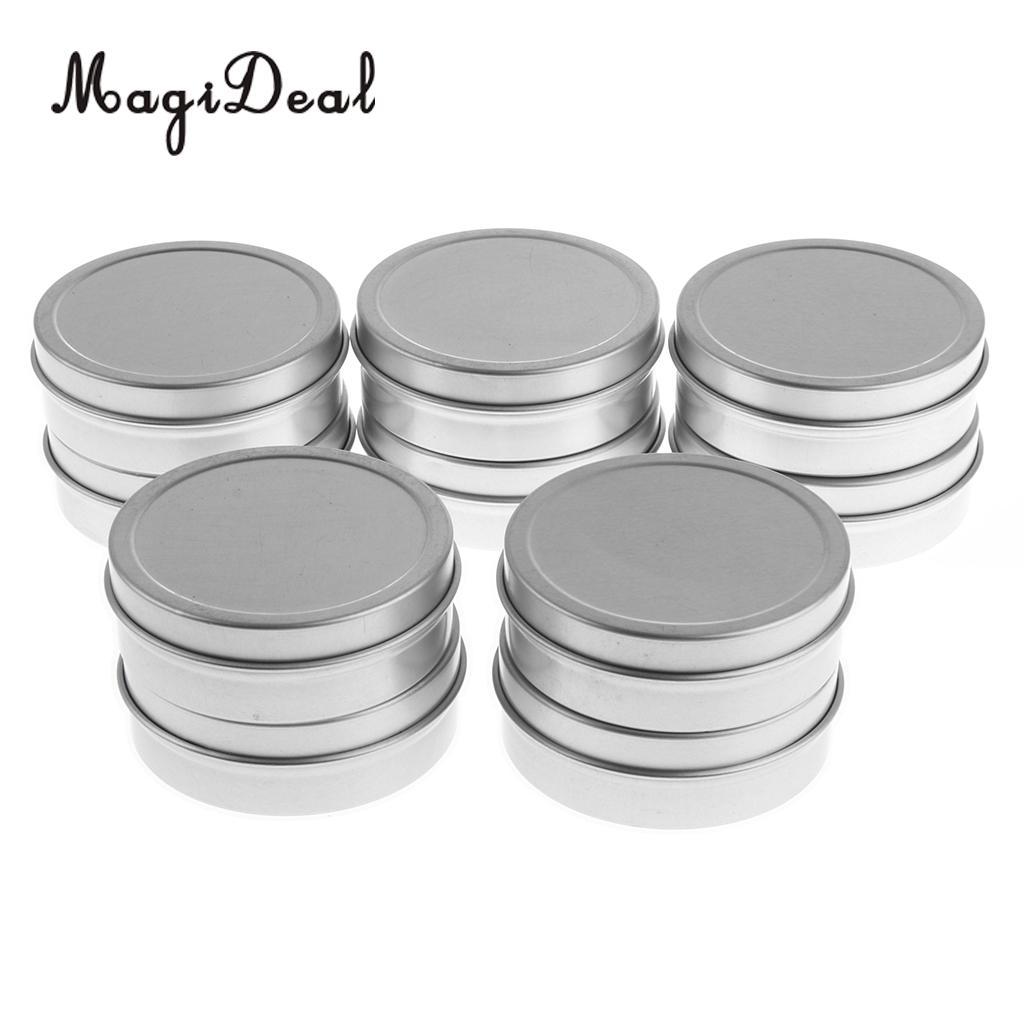 10x Aluminum Tin Jars Screw Top Round Jar Metal Tin Cans Container Travel Bottle