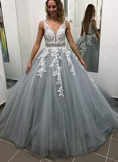 New Beautiful Tulle   Prom     Dresses   Long Appliqued Lace Evening Party Gowns Backless V-neck