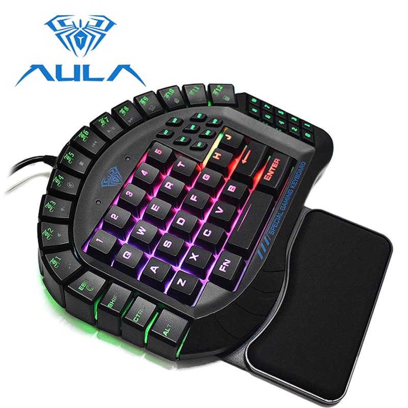 AULA One handed Gaming Keyboard Wired Single Hand RGB LED Backlight Keypad Blue Switch Wrist Rest
