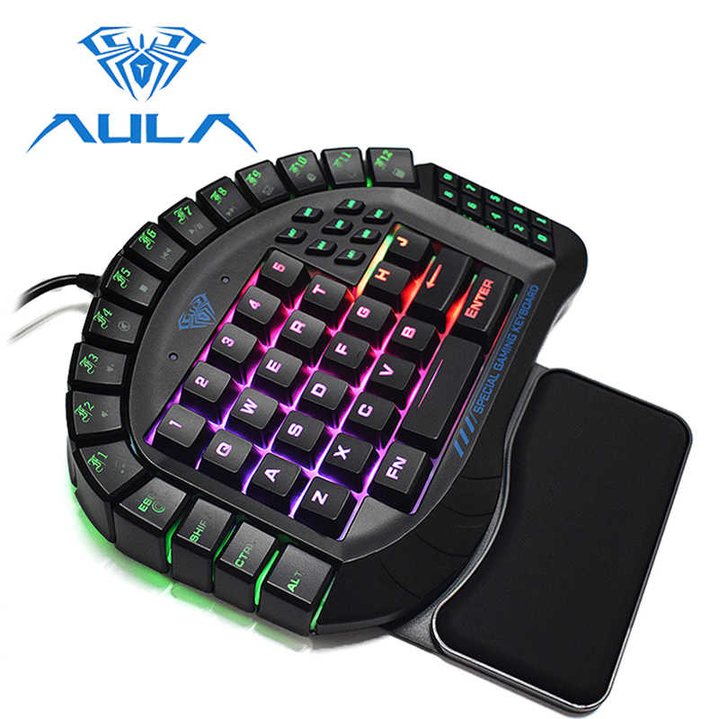 403d2c44de2 AULA One Handed Gaming Keyboard Wired Single Hand RGB LED Backlight Keypad  Blue Switch Wrist Rest