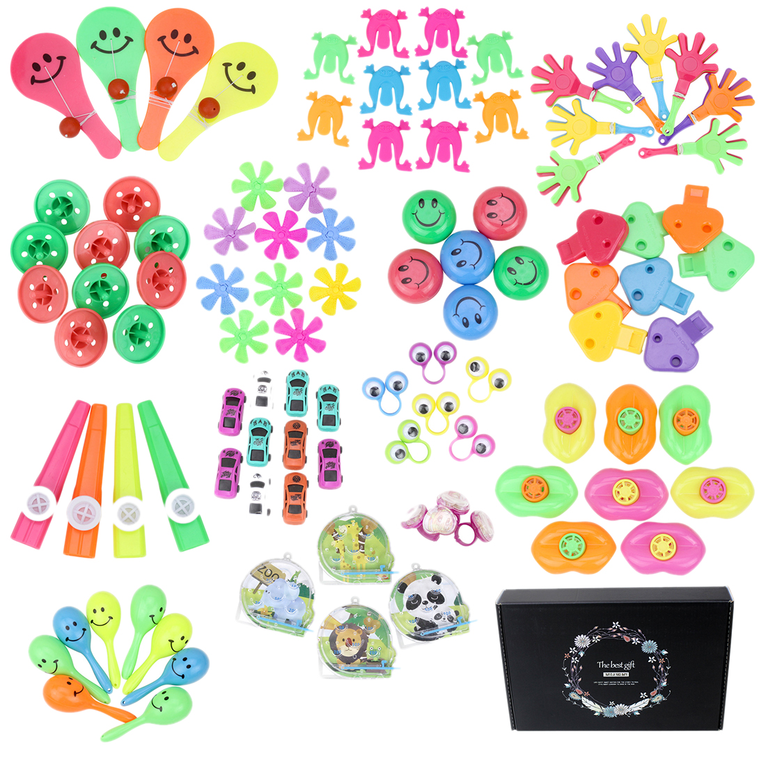 100Pcs Children  Kid's Party Cartoon Hat Small Toys Party Prop Hand Clapper Jumping Frog Fingers Eyes Set Party