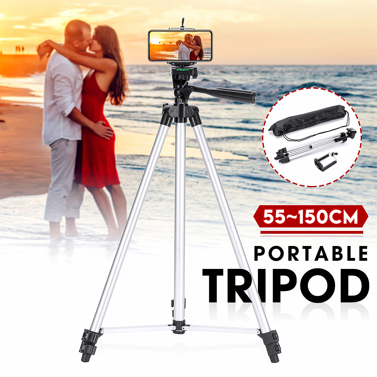 Newest 150cm Portable Professional Camera Tripod Stand Holder Digital Camera Phone Holder+Nylon Carry Bag For iPhone For Samsung
