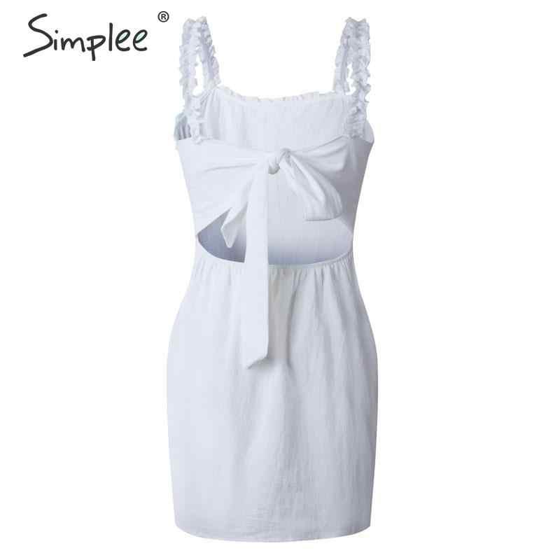 Летнее женское облегающее платье Simplee, пляжное праздничное повседневное платье 2019 на шнуровке, большого размера с открытой спиной