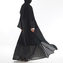 Мусульманские женские кардиган абайя хлопок кружево черный женский Рамадан платье из Дубая свободные Ближний Восток марокканской Турции ислам