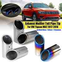 2pcs Rear Exhaust Muffler Tail Pipe Tips modified car accessories For VW Tiguan MK2 2017 2018 Grilled Blue Silver Titanium
