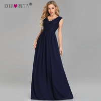 Navy Blue Bridesmaid Dresses Ever Pretty EP07676 Lace Beading A line Chiffon Sleeveless Long Party Gowns for Wedding Guest