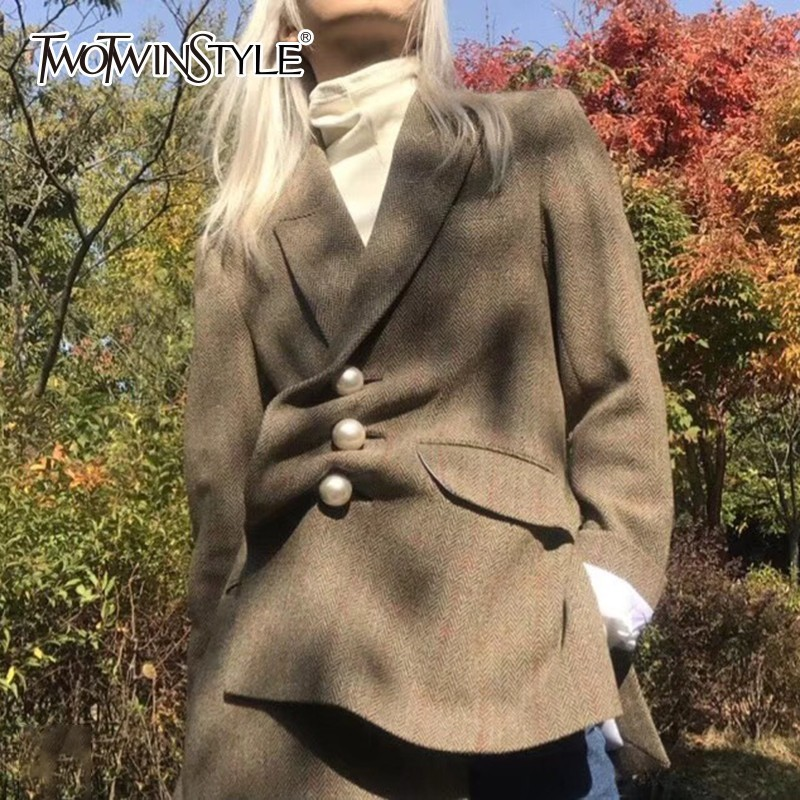 TWOTWINSTYLE Pearls Plaid Blazer Coat Female Lapel Long Sleeve Women's Suits Outerwear Side Split 2020 Autumn Vintage Fashion