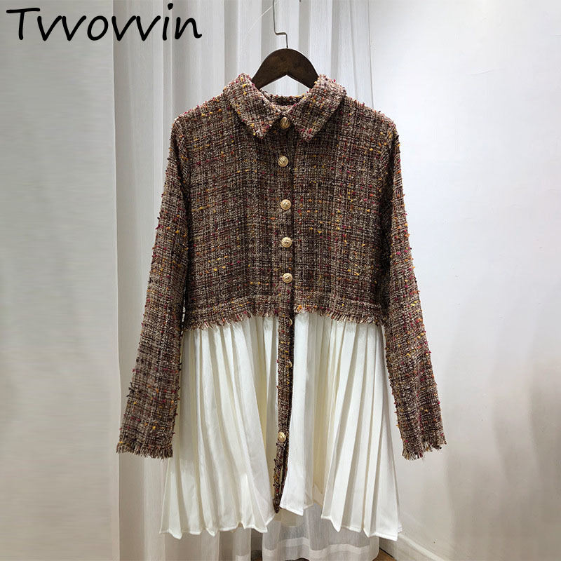 2019New Fashion Autumn Turn Down Collar Tweed Patchwork Pleated White Hem Female's Long Sleeve Jacket Coat Tops Windbreaker E022