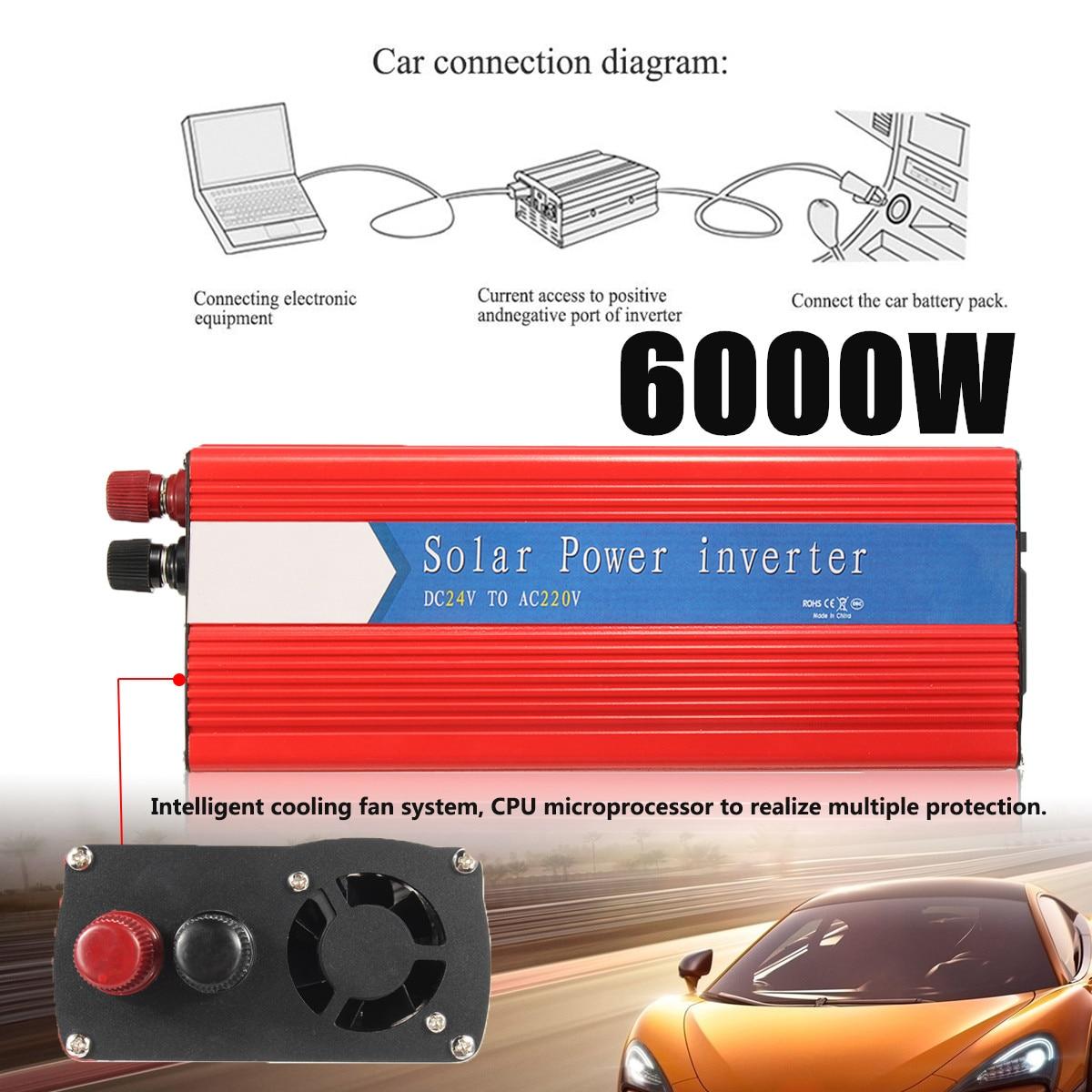 Красный автомобиль Мощность преобразователь пик 6000 Вт 12/24 В к AC 220/110 В USB Модифицированная синусоида Напряжение универсальный трансформатор