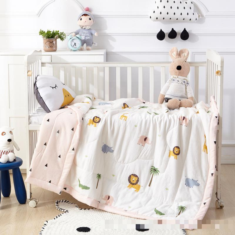 Baby Bed Quilt Double layered Gauze Cotton Children Nap Cover Spring Autumn Thin Quilt Washable Cartoon