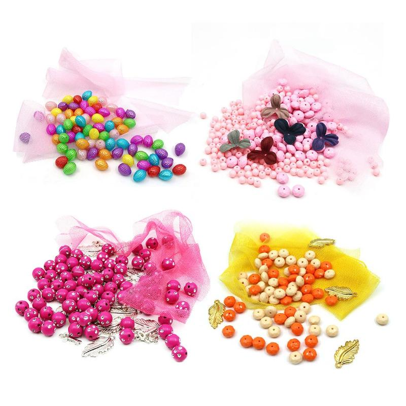 Kids DIY Beads Toys Children Manual Flower Bead Necklace Bracelet Child Colorful Arts Crafts DIY Toys Girl Montessori Puzzle Toy