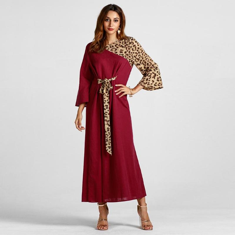 Women Muslim Dresses Soft Long Batwing Sleeve Cotton Splicing Color Round Neck Maxi Dress Casual Autumn Sashes Patchwork Dress