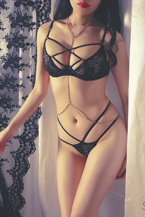 Image 4 - French Ultra thin Underwire Push Up Lace Bondage Bra Thong Underwear Sexy Lingerie Women Bra Panty Sets  Intimo Donna Completino-in Bra & Brief Sets from Underwear & Sleepwears