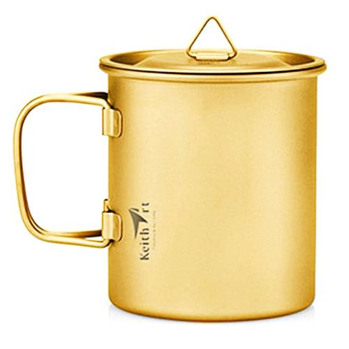 Keithart léger Ti3211 400 ml pur titane pliant monocouche Camping tasse pour randonnée en plein air pique-nique usage quotidien