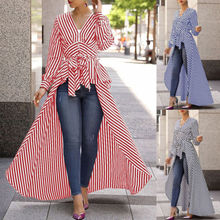 Fashion Womens Striped Long Sleeve Irregular V-Neck Casaul  Blouse High Low Tunic Autumn Tops