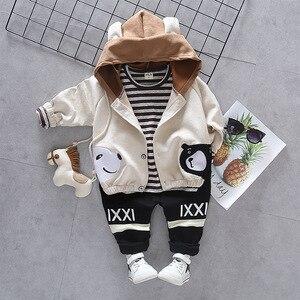 Image 4 - Children Girls Boys Cotton Clothing Spring Autumn Kid Cartoon Hooded Jacket Stripe T Shirt Pants 3Pcs/Set Fashion Baby Tracksuit