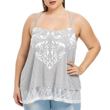 Plus Size Tribal Print Lace Trim Tank Top  Sweet Camis Crop Women Summer 2019