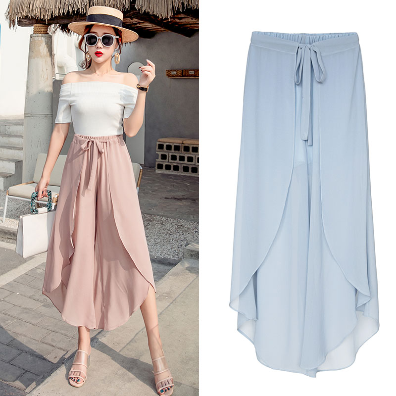 Women Loose Chiffon   Wide     Leg     Pants   Casual High Waist Ruffle Boho Trousers 2019 Fashion Solid Irregular Female Harem   Pants   Skirts