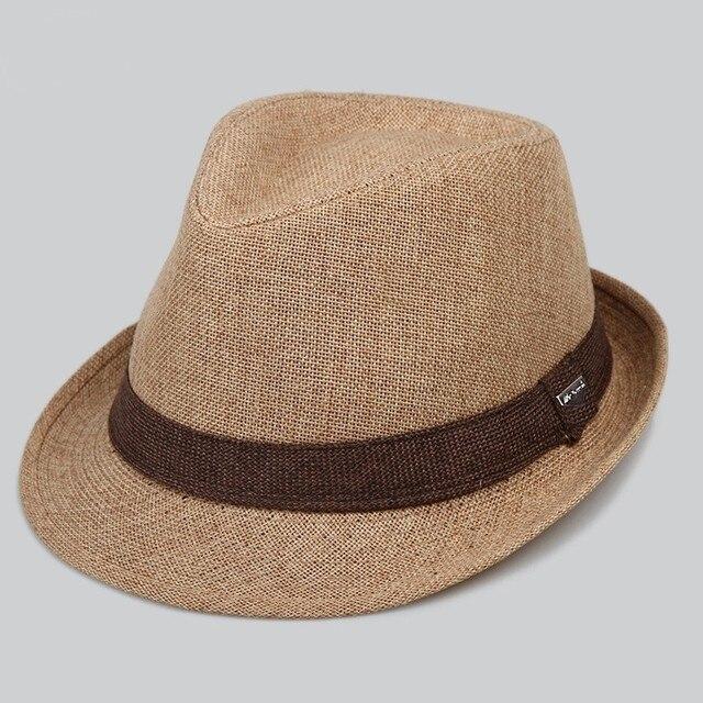 dabda45db9 Masculino clássico proteção UV chapéu fedora palha verão chapéus panamá  para mulheres trilby cap cabeça grande homem de linho plus size jazz S ...