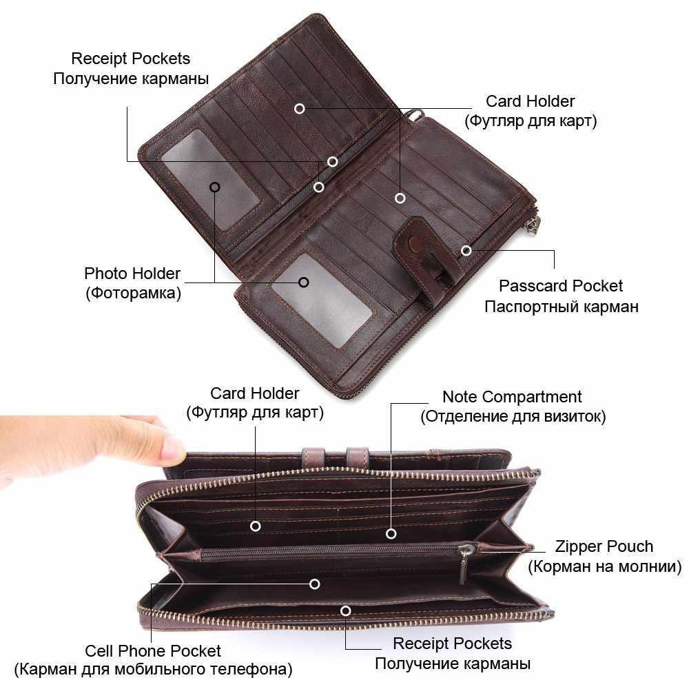 GENODERN, мужской клатч, кошелек, натуральная кожа, мужской клатч, органайзер, на молнии, Длинный кошелек с держателем для сотового телефона, кошелек для монет