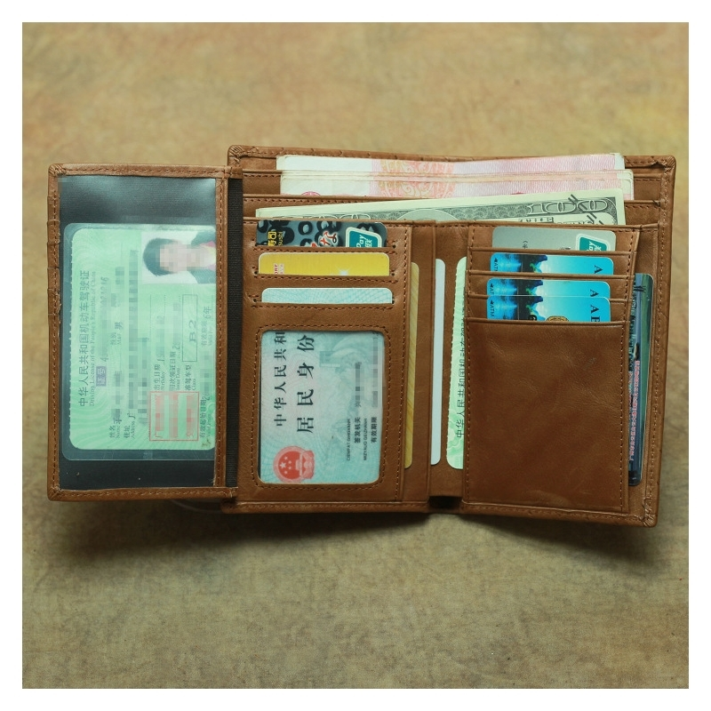 Vintage Top Layer Cowhide Woven Pattern Wallet Leather 2 Fold Long Section Multi Card Driver 39 s License Wallet in Wallets from Luggage amp Bags