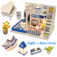 Doll House Miniatures Furniture Wooden Handcraft Dollhouse Kits DIY Dollhouse Puzzle Toys For Children Birthday Gift Light Time