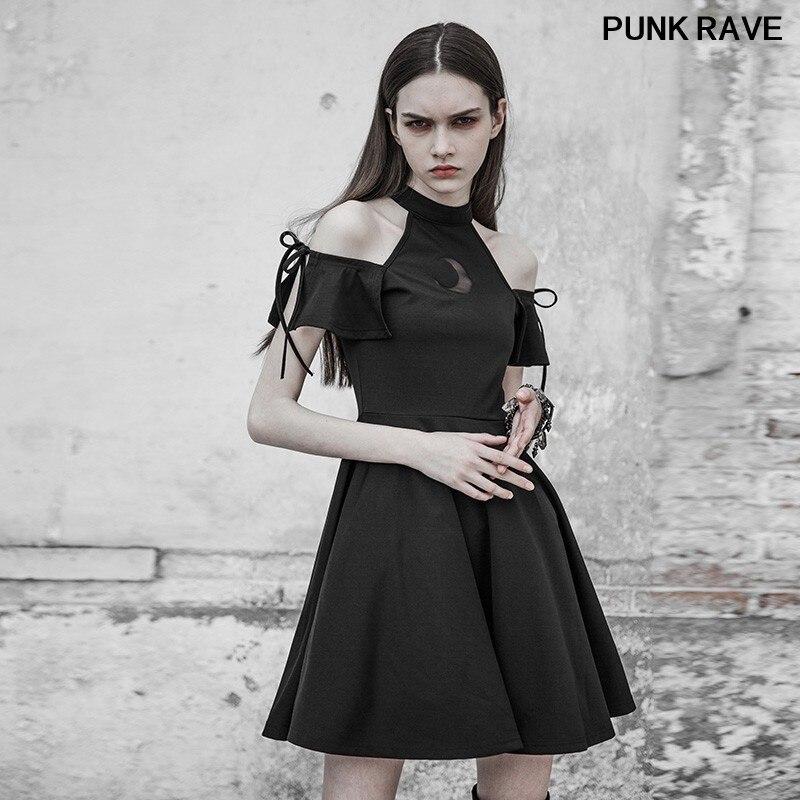Gothique éclipse lunaire conception A pendule petite robe noire mode astrologie série bretelles foncé tricoté robe PUNK RAVE PQ-313