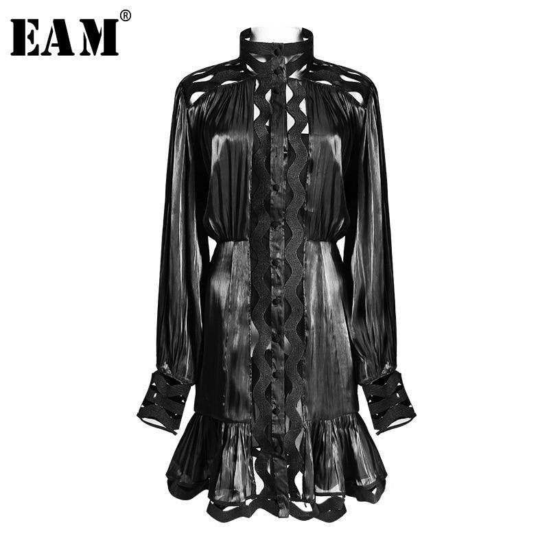 EAM 2019 New Spring Summer Stand Collar Long Sleeve Black Loose Hem Ruffles Stitch Two
