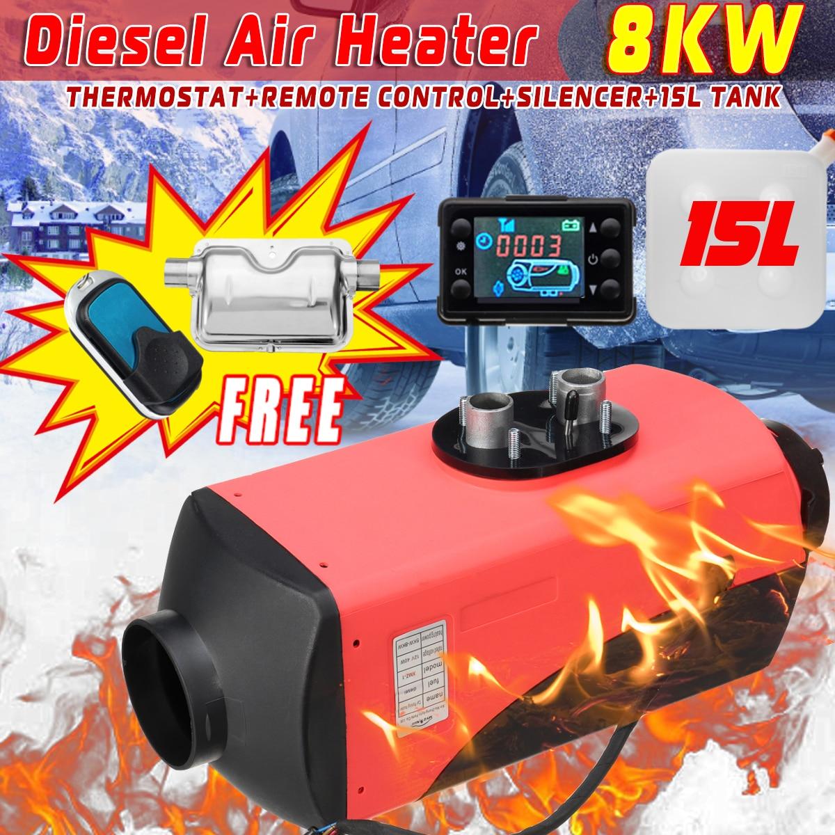 LCD D iesel Tanque Aquecedor de Ar Silencer 12 V 8KW 15L Planar Carro Caminhões Barco Motorhome de Garagem Com Controle Remoto monitor LCD para RV
