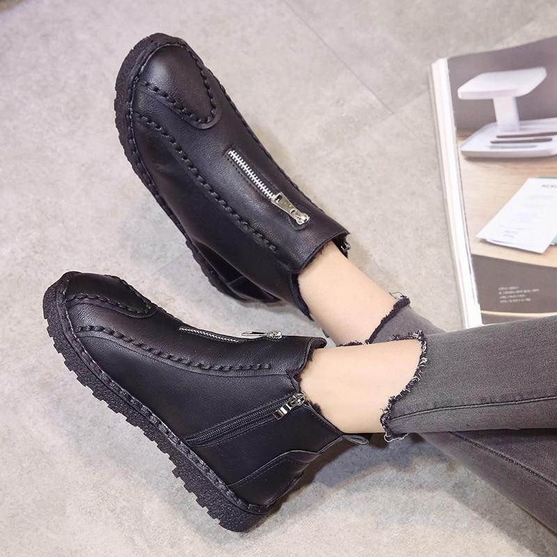 Redonda Con A Punta 40 Calzado Plus khaki Mujeres Mujer Black Mano 35 Cuero Hecho De Botas Tamaño Cremallera Zapatos 7SWPOp