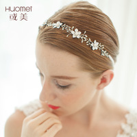 D254 NPASON Korean Style Bride Headwear Hair Band Alloy Wedding Dress Accessories Exquisite Flower Marry Ornaments