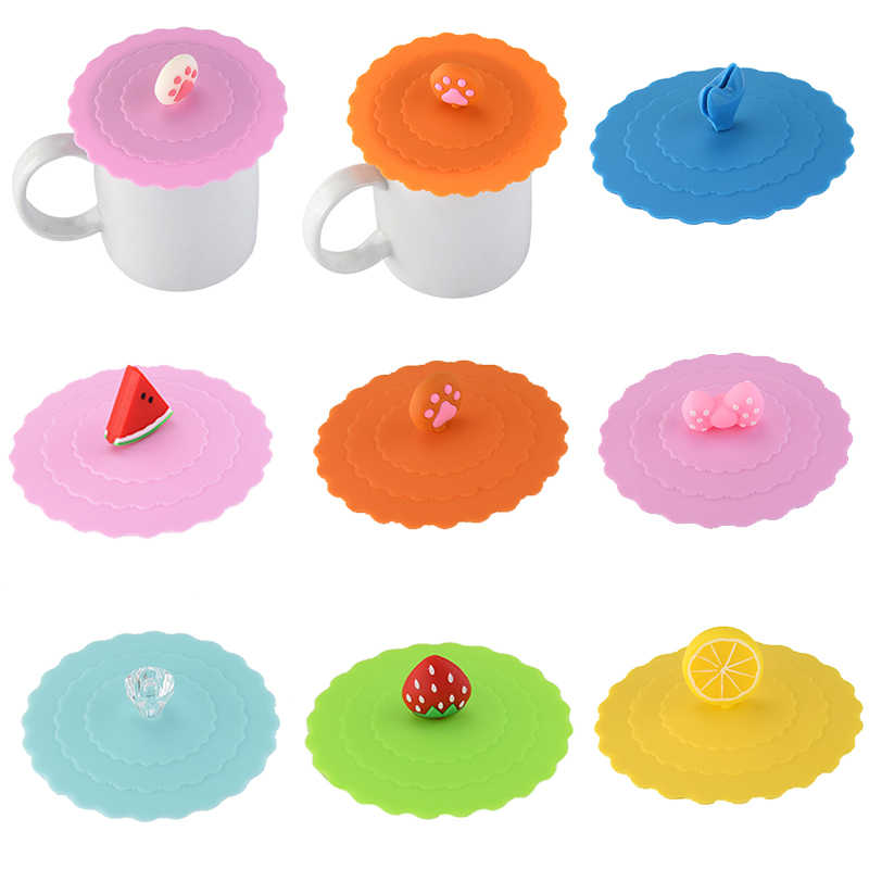 Fashion 1pc  Silicone Cute  New Glass Cup Cover  Strawberry  Bowknot  Suction Seal  Cup Cover Coffee Mug  Soft Fruit Lid Cap