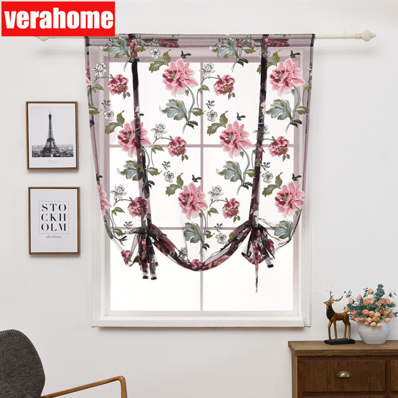 US $5.63 53% OFF Verahome floral Roman short window curtains for bedroom  living room kitchen valance sheer fabric panel Treatments window-in  Curtains ...
