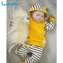 Wisefin Baby Boy Girl Clothes Striped Newborn Clothing Set For Yellow Cute Ear Infant Outfit Long Sleeve Hoodie + Pants