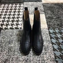 498b5af40d38a5 Slip Auf Outdoor stiefel cl andgz Schwarz Leder Nieten Vorne Rote untere  Für Mann Schuhe High Cut beiläufige Müßiggänger Flach 2.
