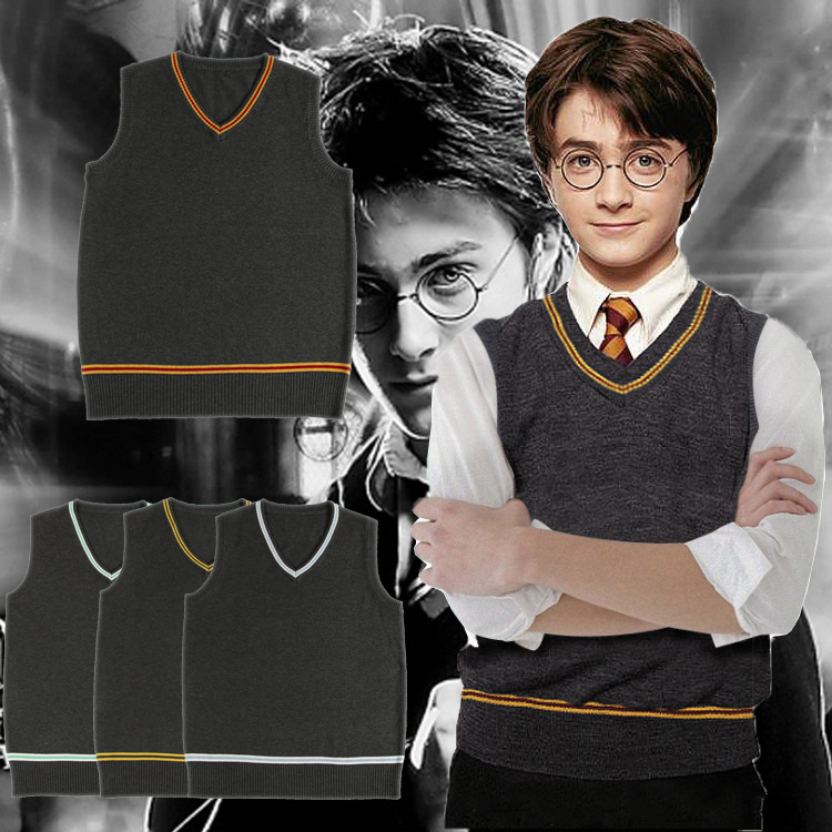Harri Potter Gryffindor Slytherin Ravenclaw Hufflepuff Sweater With Tie Waistcoat Black all-match Daily Clothes Cosplay Costumes