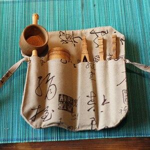 Image 1 - Conjunto de acessórios de chá de bambu natural, conjunto de 5 peças de utensílios de chá puer agulha colher filtro de chá infurso vintage feito à mão