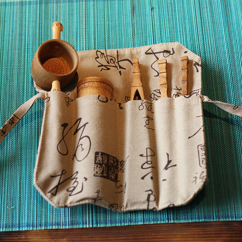 Natural Bamboo 5 Pcs Puer Tea Tools Accessories Teaware Set Include Needle Spoon Clip Tea Strainer Infurse Vintage Handmade|Teaware Sets| |  - title=