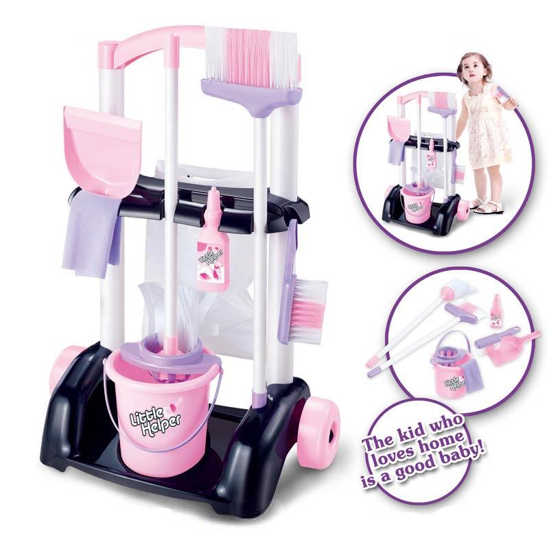 Conjunto Crianças Crianças Role Play Toy Simulação 1 Kit de Limpeza Multi-funcional Plástico Segurança YJS Dropship