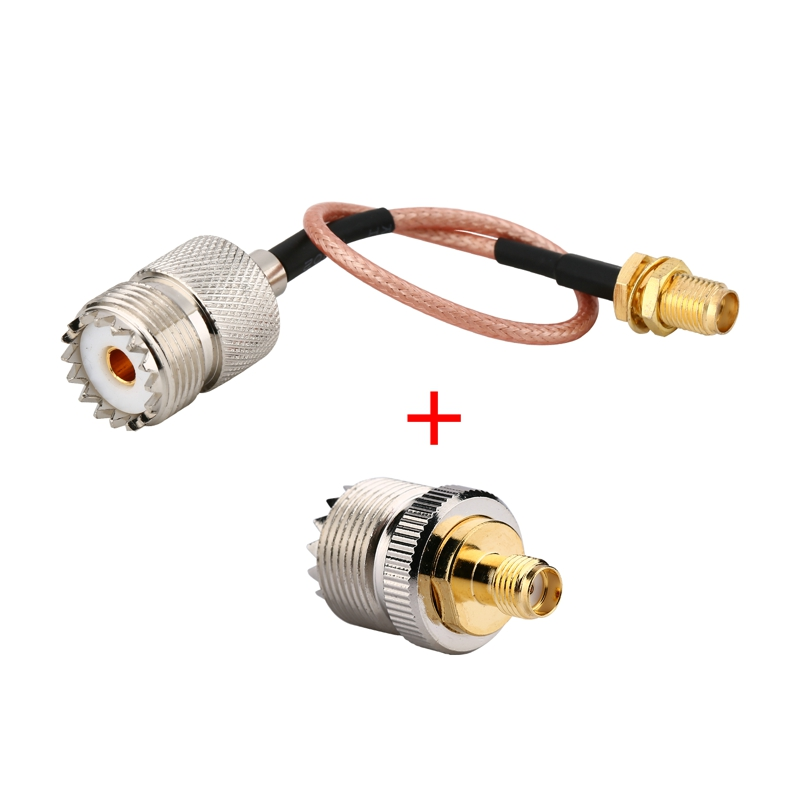 2 Kits SO239 UHF Female To SMA Female Adapter + Pigtail Cable Antenna Connectors RG316 Handheld Radio Antenna Cable Connecting