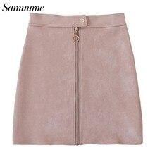 97c14a22f Samuume 2019 Suede Solid A Line Mini Short Skirts Women High Waist Button  Zipper Sexy Harajuku