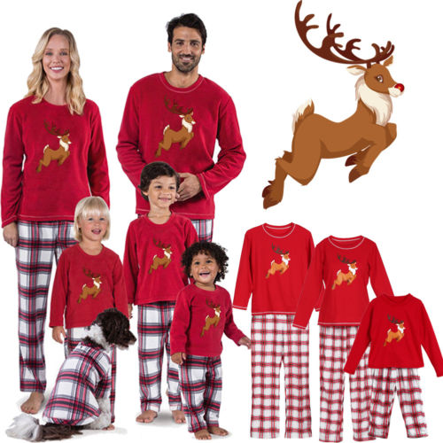 Emmababy Family Matching Christmas Pajamas Adult Women Kids Cotton Sets Xmas  Deer Red Casual Style Plaid Pants e4cfd38fd
