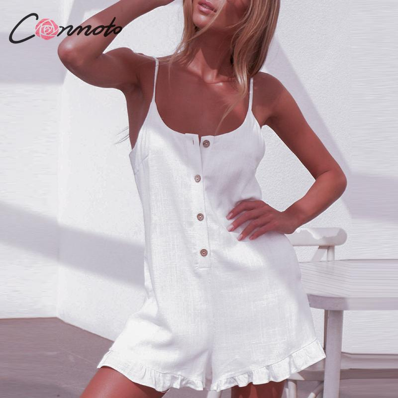 Conmoto Casual White Spaghetti Short Jumpsuit Women 2019 Summer Loose Backless Button Rompers Girl Holiday Fashion Jumpsuit