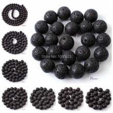Alta qualidade redonda natural preto lava pedra pulseira colar de jóias contas soltas 15 Polegada 4/6/8/10/12/14/16/18/20mm wj76