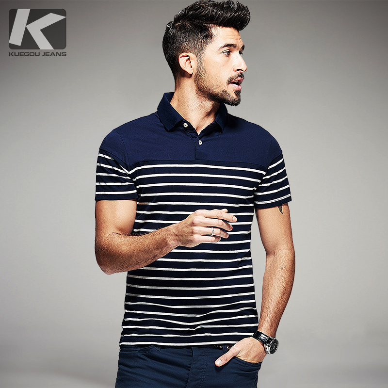Summer Mens   Polo   Shirts 100% Cotton Striped Blue Black Color For Man's Slim Short Sleeve Clothes Male Plus Size Brand Tops 7036