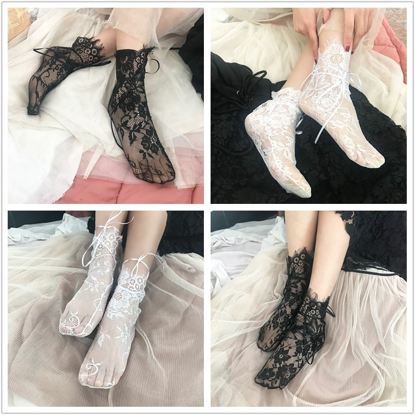 New Women's Socks Ribbon Ladies Transparent Floral Lace Socks Mesh Bow Black Fishnet Lace Flower Mesh Ankle Elastic Hosiery Sock