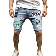 Denim shorts mens fashion denim large size 3XL personality European and American style embroidery OEM