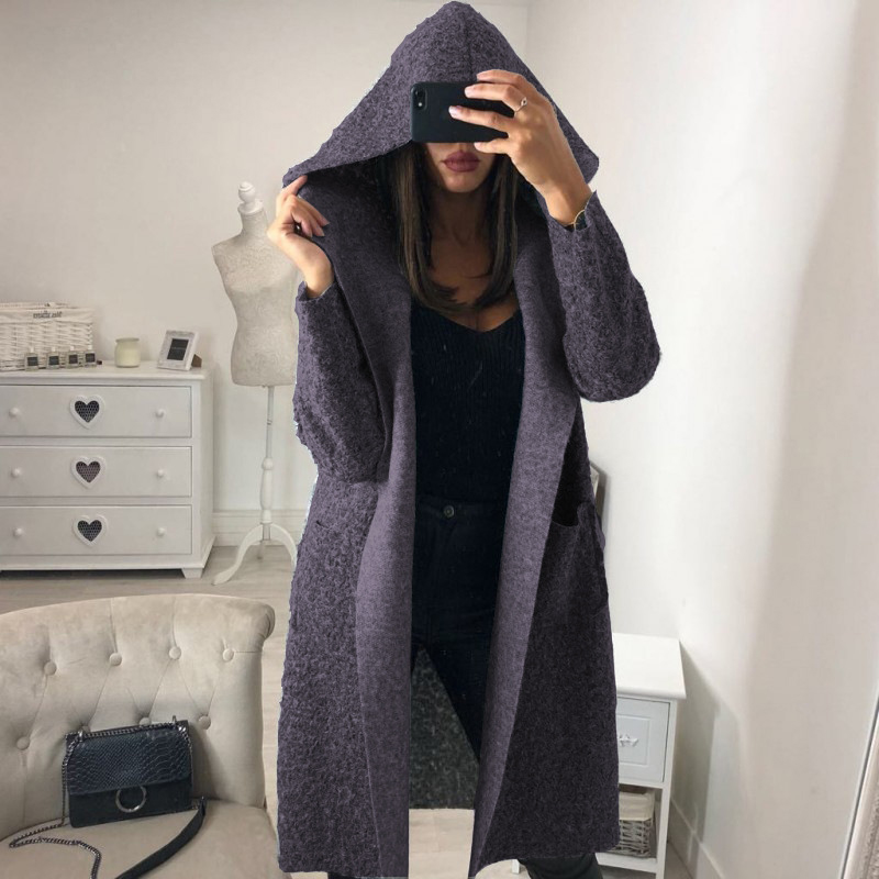 d169f845106f Fashion Women Hooded Long Sleeve Wool Blends Coats Autumn Thin Coat Belted  Solid Outwear Windbreaker Ladies