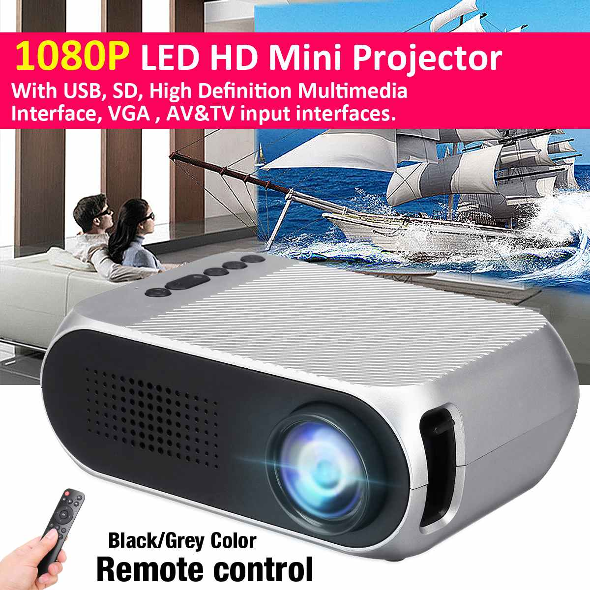 1920*1080 LED Mini Projector  White/Gray/Black YG320 Home HD Mini Portable Projector Supports 23 Languages1920*1080 LED Mini Projector  White/Gray/Black YG320 Home HD Mini Portable Projector Supports 23 Languages