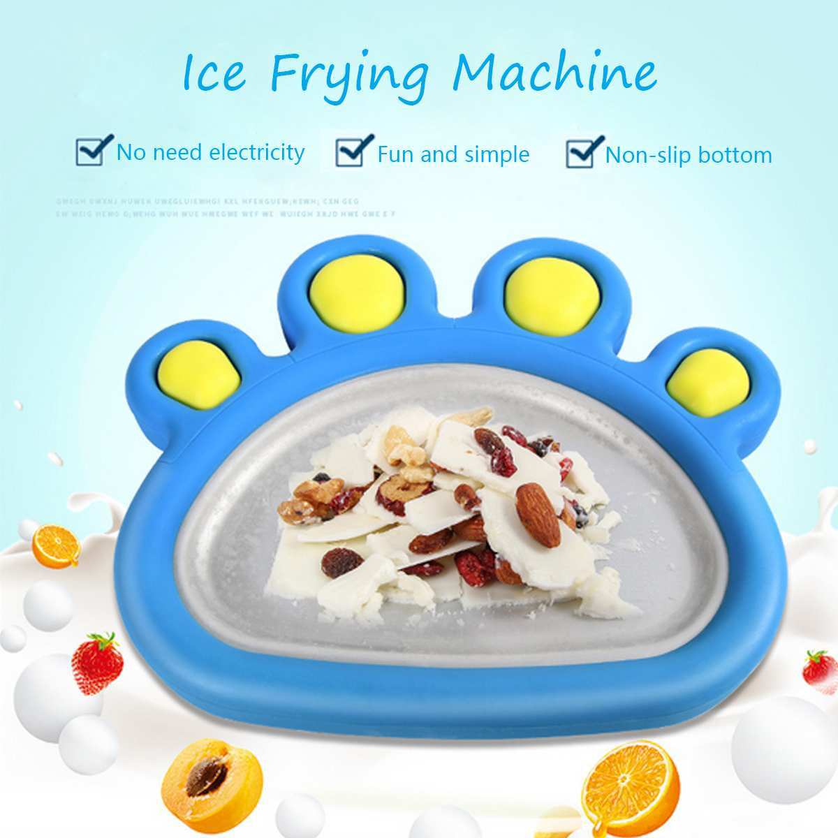 Yogurt Fruit Roll Maker Machine Home Instant Ice Cream Fry Pan Plate + 2 Spade Fast Freeze Surface DIY Food Grade Non-slipYogurt Fruit Roll Maker Machine Home Instant Ice Cream Fry Pan Plate + 2 Spade Fast Freeze Surface DIY Food Grade Non-slip